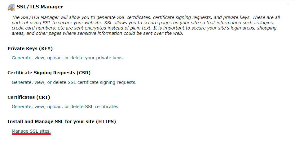 Install and the Manage SSL