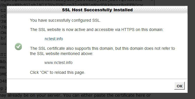 SSL Successfully Installed